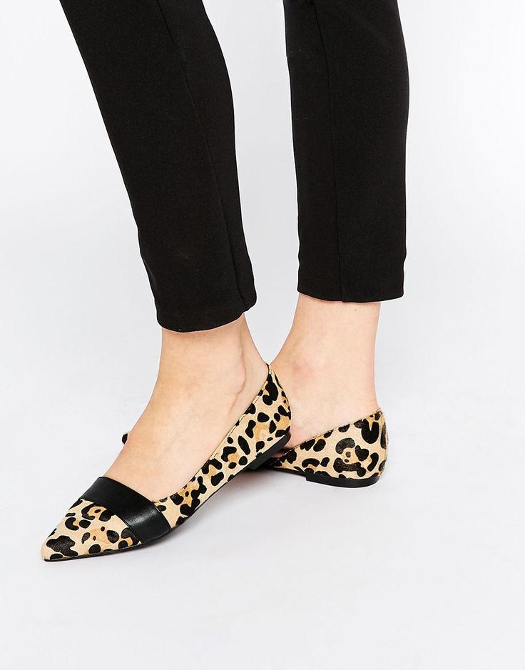 Image 1 of Faith Ace Pony Effect Animal Pointed Flat Shoes