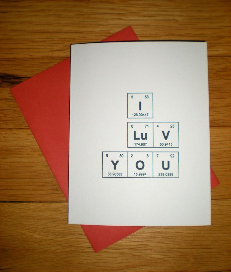 """Adorkable Chemie Karte Periodensystem der Elemente """"I Luv You"""" Anniversary / Ch …   – Gift ideas"""