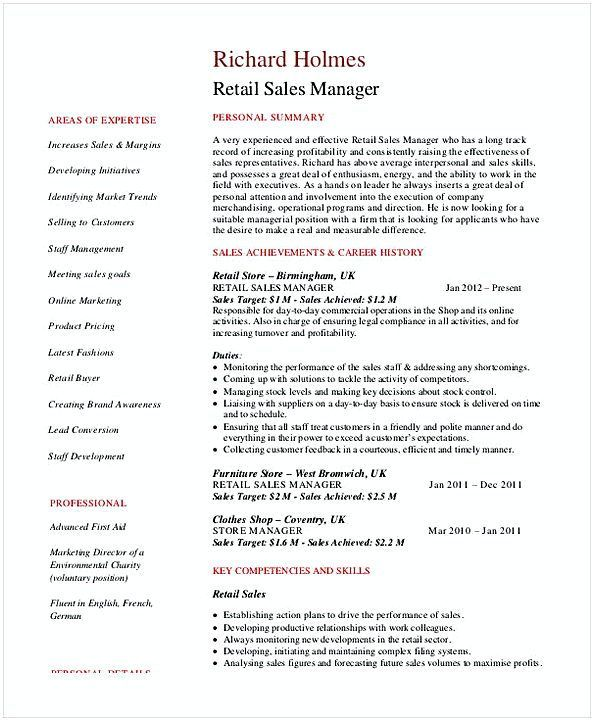 Retail Sales Manager Resume 2 General Manager Resume Find The Things That You Need To Know For You Manager Resume Sales Resume Professional Resume Examples