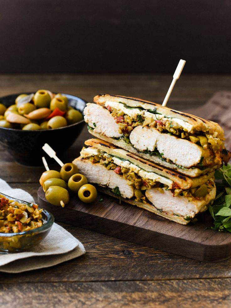 The ultimate sandwich for olive lovers: Olive-brined Chicken Sandwich with Olive Tapenade gets its flavor from chicken brined olive brine!