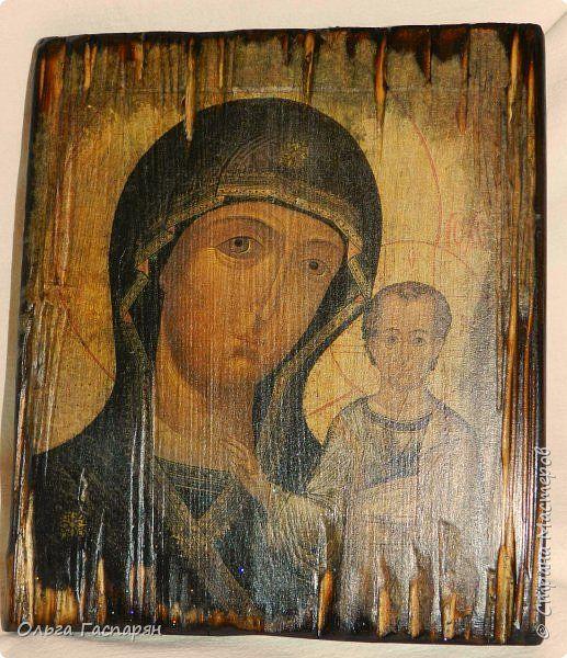 Картина панно рисунок Декупаж Икона Казанской Божьей Матери  Дерево фото 1