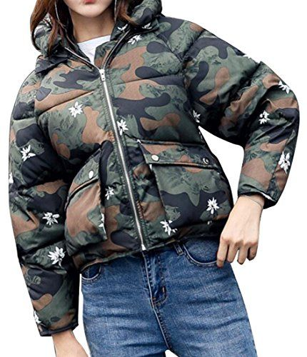 Oberora Womens Fashion Plus Size Hooded Full Zipper Short Down Coat Camo XL -- Read more reviews of the product by visiting the link on the image. (This is an affiliate link)