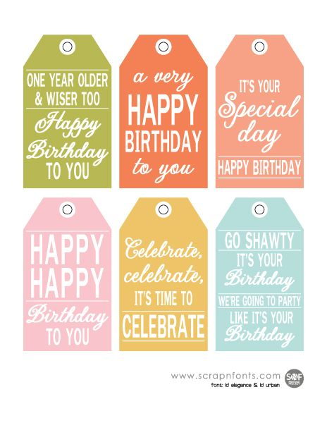 Universal image for free printable birthday tags