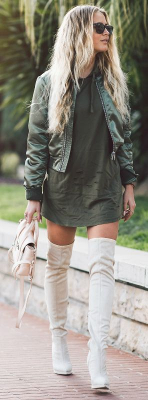Urban style | Khaki Bomber jacket over mini dress, white over the knee boots and a matching handbag