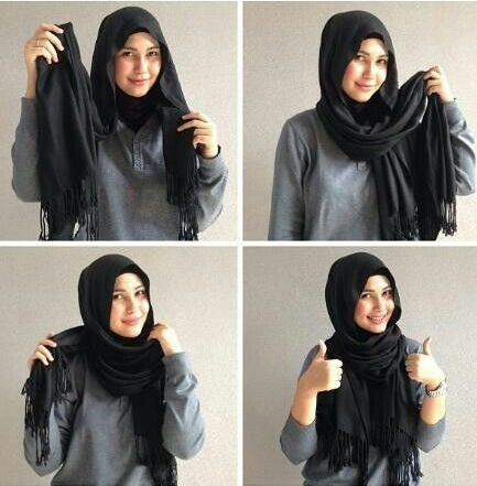 This is a good hijab style for rock-and-roll and hip-hop inspired wear.