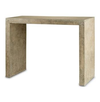 Harewood Beige Polished Concrete Industrial Rustic Console Table