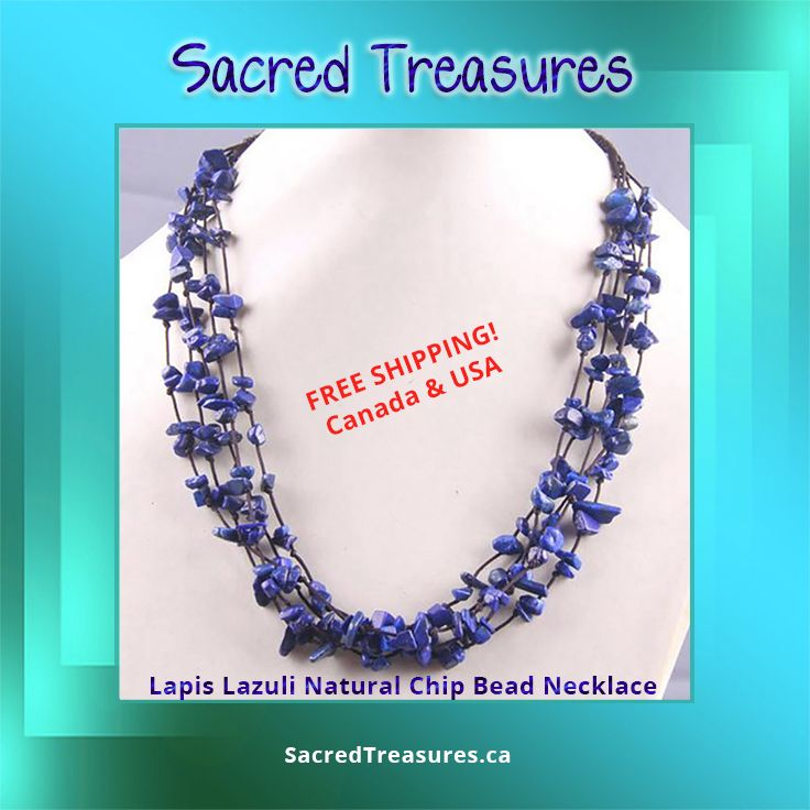 Lapis Lazuli Natural Chip Bead Necklace.  Get it here: https://sacredtreasures.ca/products/natural-stone-chip-beads-necklace-19-inch-jewelry-f028-f041  #Gemstone #crystals #jewelry #lapislazuli