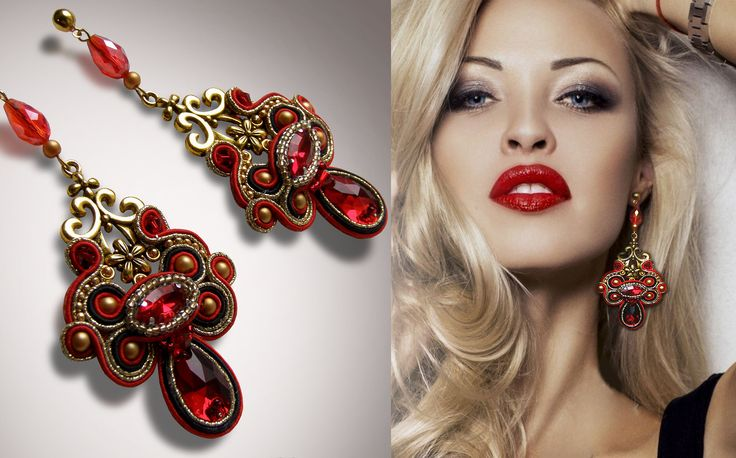 sutache, red earrings, soutache earrings, long earrings, crystal earrings, gold earrings, free shipping by GShDesignerJewelry on Etsy
