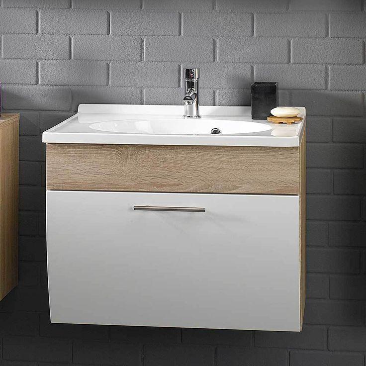 Badezimmer Waschbeckenschrank In Weiß Hochglanz Sonoma Eiche Jetzt  Bestellen Unter: Https://moebel