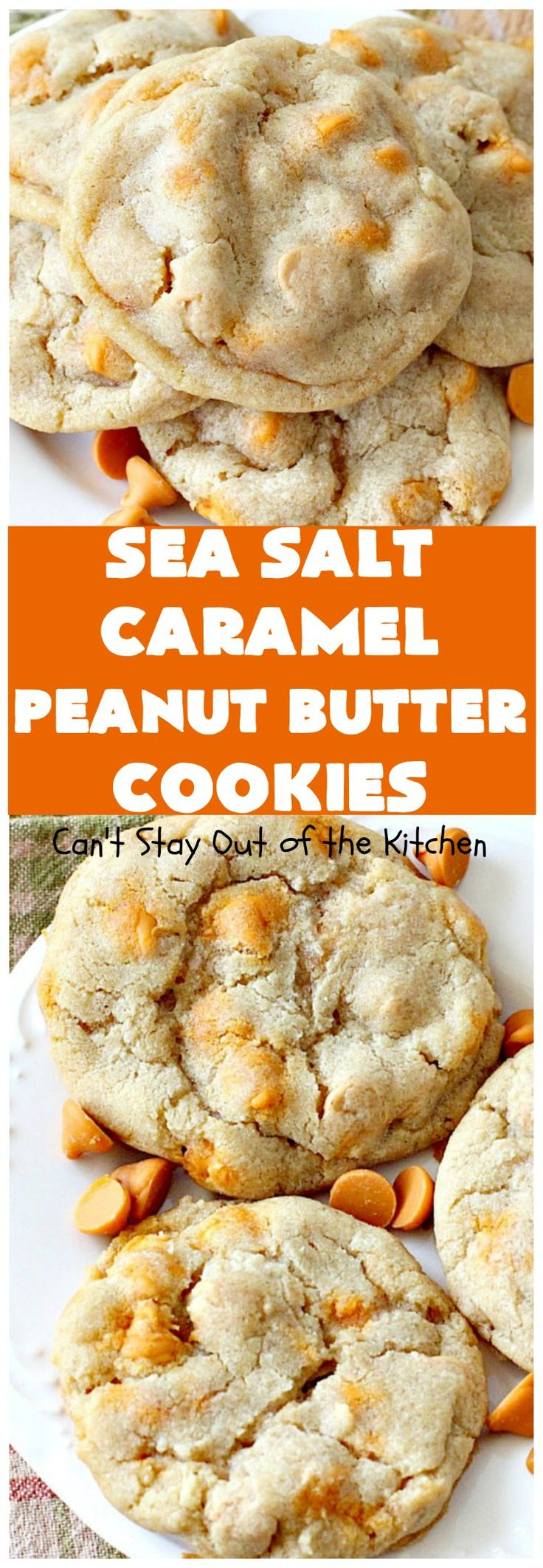 Sea Salt Caramel Peanut Butter Cookies - use both Reese's peanut butter chips and salted caramel chips in a delicious copycat recipe for Mrs. Field's chocolate chip cookies.