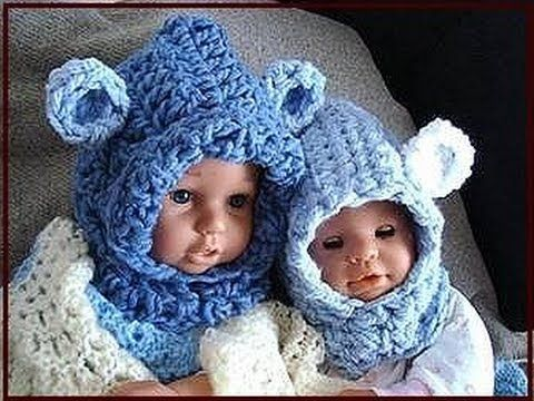 ▶ BABY BEAR HOODIE, how to crochet, newborn to age 5, free crochet pattern - YouTube
