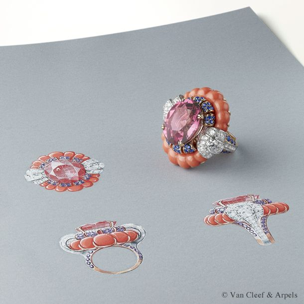 Gouache drawing of Van Cleef & Arpels Summer Cocktail ring, Pierres de Caractère Variations collection.  White gold, round diamonds, pink gold, coral (corallium elatius), round mauve sapphires and one oval-cut pink spinel of 21.19 carats.