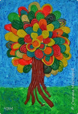 Поделка изделие Праздник осени Аппликация из пластилина + обратная Осеннее дерево Пластилин фото 1