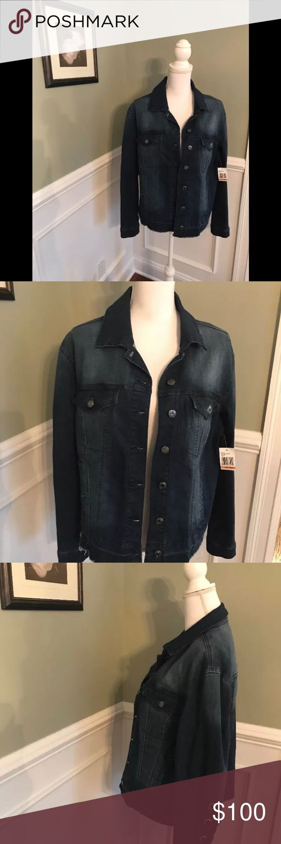 NEW Kensie Jeans Ribbon Sleeve Denim Jacket Size S NEW with tags Kensie Jeans Ribbon Sleeve Denim Jacket Size Small Unfinished hem at waist Ribbon detail on Sleeve Medium - dark Wash Kensie Jackets & Coats Jean Jackets