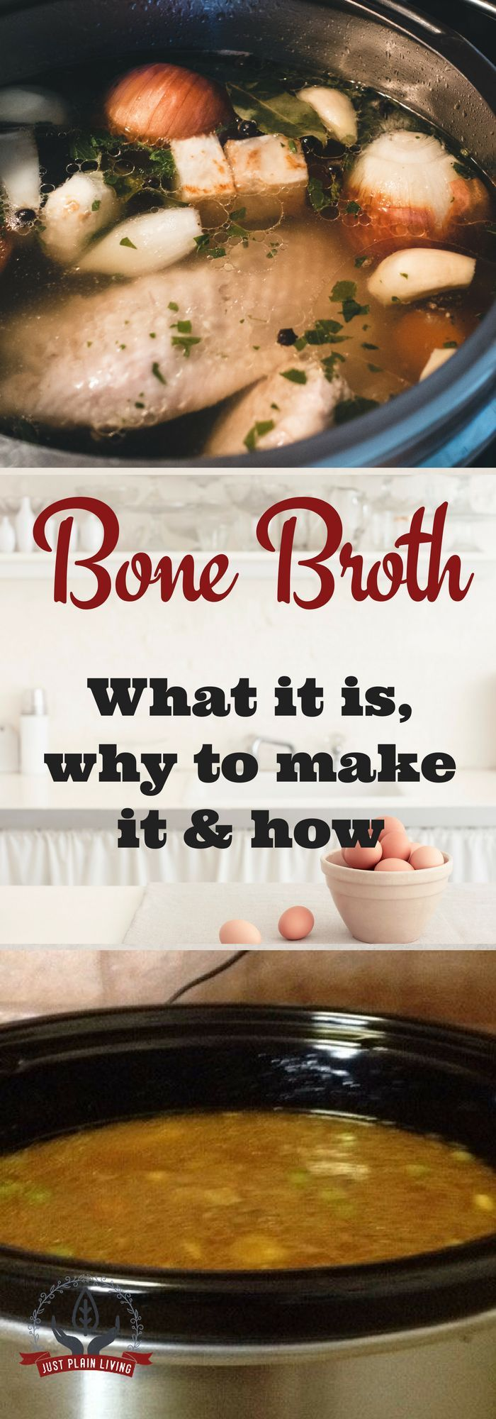 What everyone calls bone broth today is what Grandma called 'broth' - it comes from long, slow simmering of bones in water. The biggest difference between bone broth and regular stock is that bone broth is cooked a lot longer.