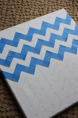 How To: Chevron Painted Canvas #diy #crafts @mikael Ann Worsham this is so something you have thought of!