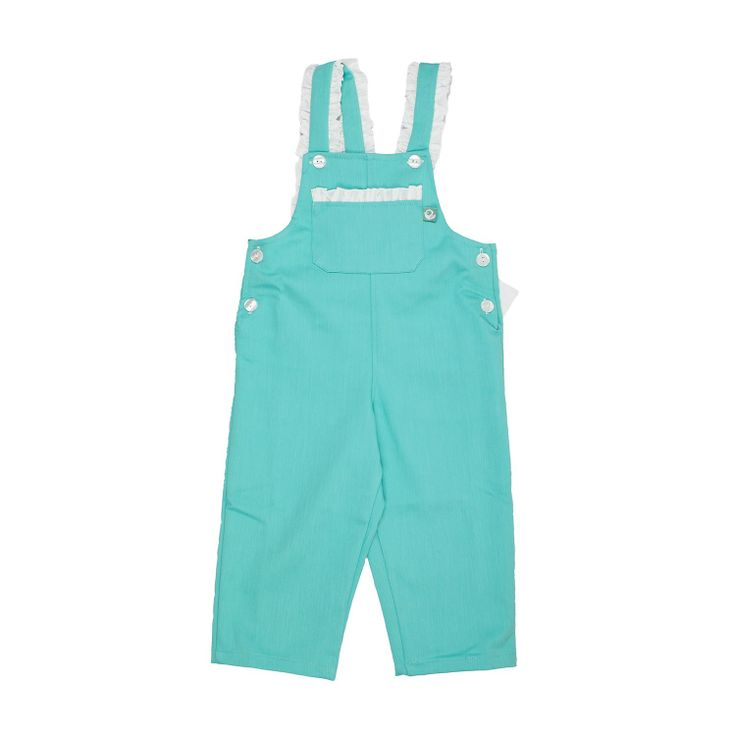 Turquoise Jumpsuit These jumpsuits are so cute and at the same time so confortable. Full of adorable details, little ruffle on the straps and big bow at the back. Have a look at all the lovely patterns available. Fully lined. 100% cotton