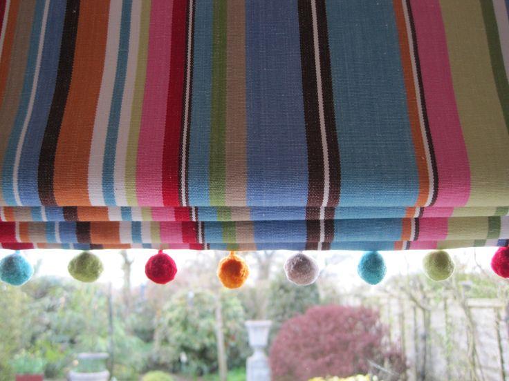 Deckchair stripe blind with bobble trim. Made at Midsummer stitches www.midsummerstitches.co.uk