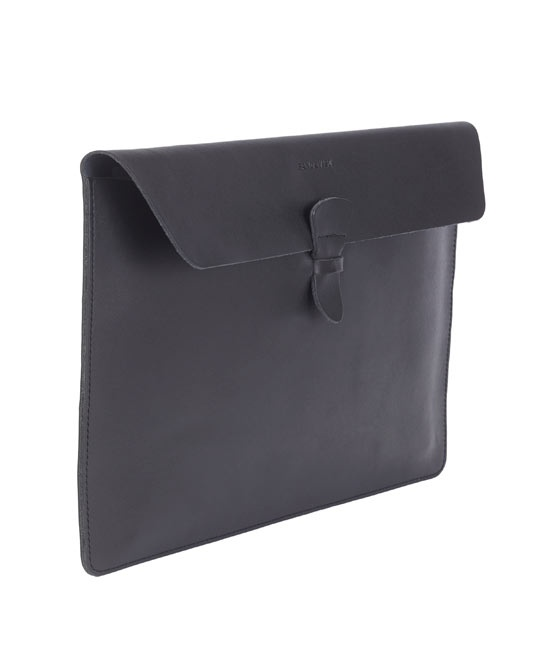 Black Ove Fold-Over Leather Laptop Case