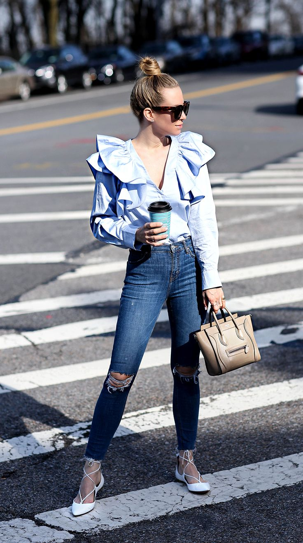 Shirt: H&M (size 4)    Denim: Topshop   Flats: Aquazzura   Bag: Celine Nano (color is dune) #StreetStyle
