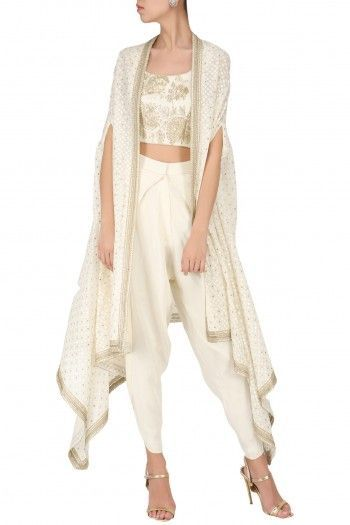 9d0a530c21 Saumya and Bhavini Modi Ivory Embroidered Crop Top with Dhoti Pants and  Cape Set  saumyaandbhavinimodi  ivory  embroidered  crop  top  dhoti  pants   cape ...