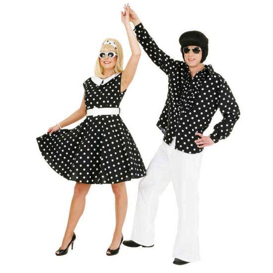 Zwart jurkje met witte stippen  Rock n roll jurk zwart met wit. Zwarte jaren 50 jurk met petticoat en witte stippen. Inclusief riem.  EUR 57.95  Meer informatie
