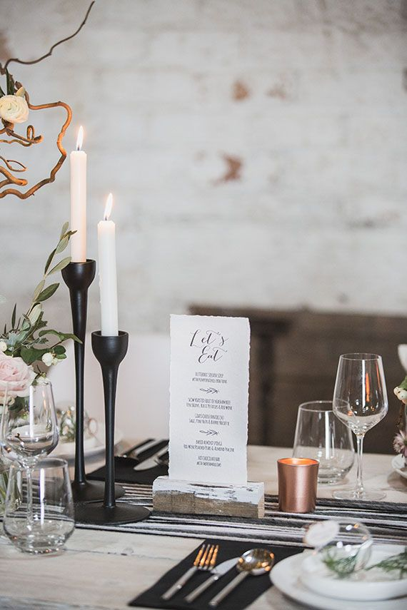 Contemporary Scandinavian winter wedding inspiration | Styling by Lemonbox studios | Photo by Tandem Photo