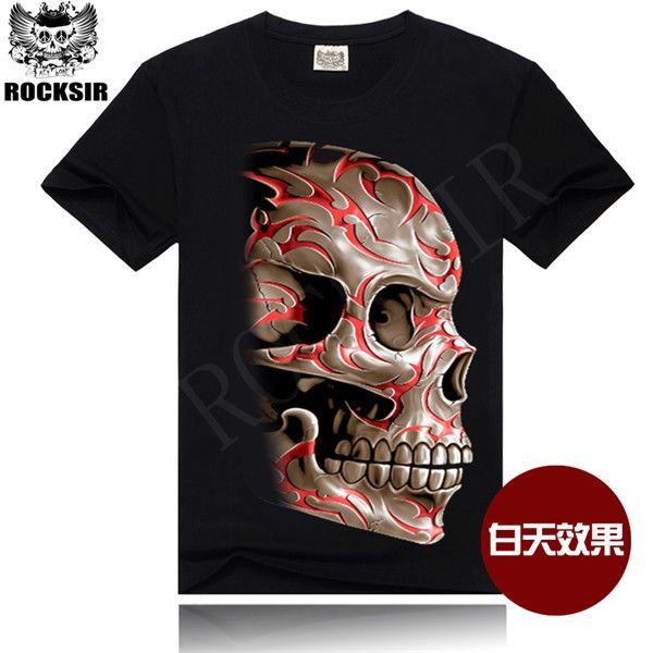 >> Click to Buy << 2015 New style Hot sell 100% cotton t-shirt Men Skull dark glow t shirt printing S-XXXL Men dark glow t shirt wholesale #Affiliate