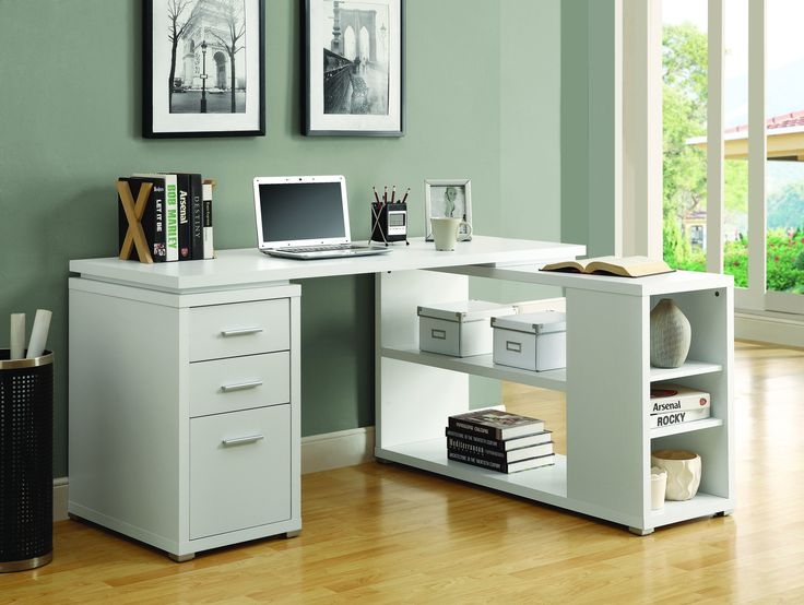 "60"" X 47"" Modern White L-Shaped Desk with File Drawer & Open Shelving"