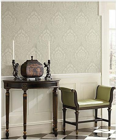 Green damask 58428 brass wallpaper paired james wallpaper wallpaper