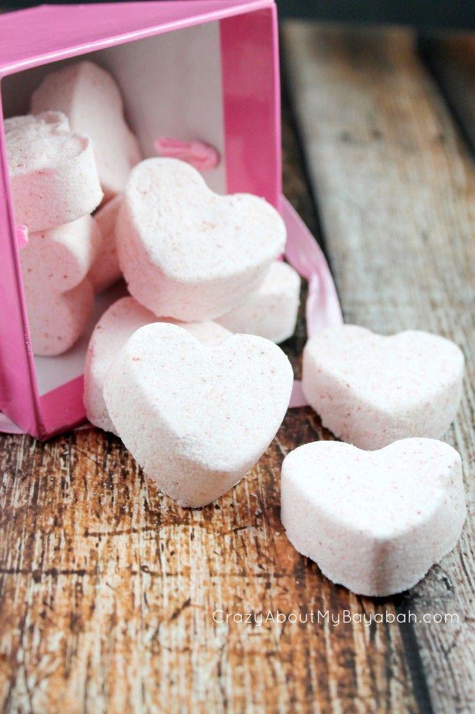 Homemade Valentine heart bath bombs & Free Printable