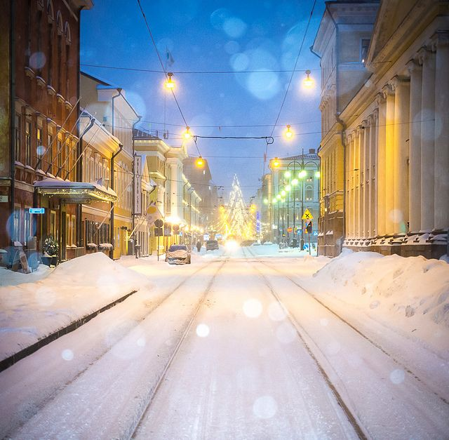 Snowing on Christmas day, Helsinki, Finland