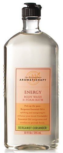 Bath & Body Works Aromatherapy Bergamot Coriander Energy Body Wash and Foam Bath 10 fl oz (295 ml) by Bath & Body Works. $26.99. Bath & Body Works Aromatherapy Bergamot Coriander Energy Body Wash and Foam Bath 10 fl oz (295 ml).  This sudsy body wash is infused with an aromatherapy blend of essential oils that is invigorating and uplifting so you feel energized. This nourishing formula contains Green Tea Extract to help keep skin looking younger and healthier.  Pick up the pa...