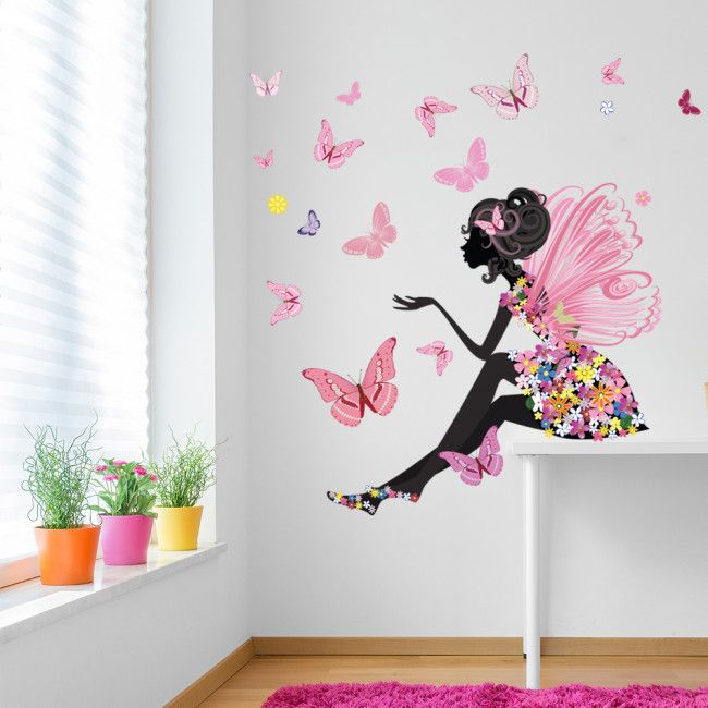 Printed Wall Stickers Fairy Girls Personalised Fairies Flowers /& Butterflies