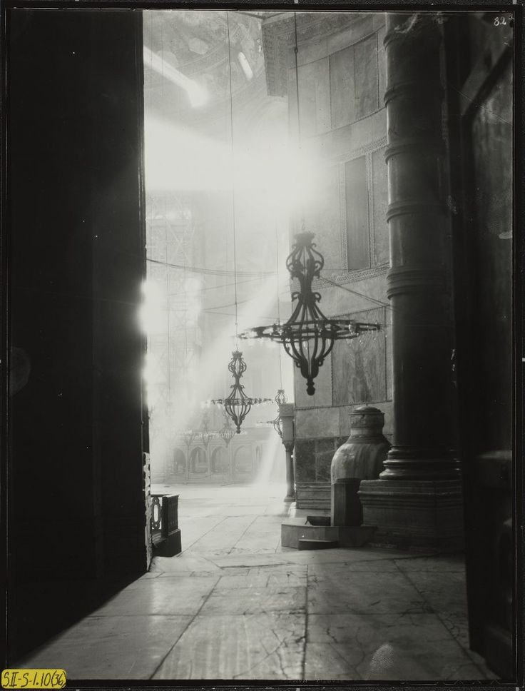 Conservation of Hagia Sophia mosaics, Istanbul, 1931-1964. Study of Light. Study of light, looking north northeast to apse (with scaffolding) at ground level from southwest exedra. 1936 here