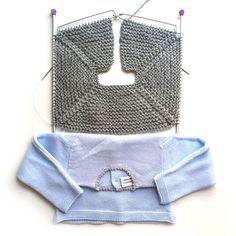 Tutorial que muestra con imágenes cómo calcular los puntos para tejer una prenda junto con patrón gratuito para tejer una rebeca talla 9 meses