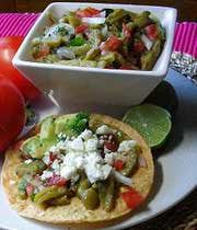 Ensalada de nopales (cactus salad).  Delicious.  I love pairing this with the grilled chicken tostadas on this board.  For tips and encouragement for moms, please check us out at:  http://www.everythingsahm.net/