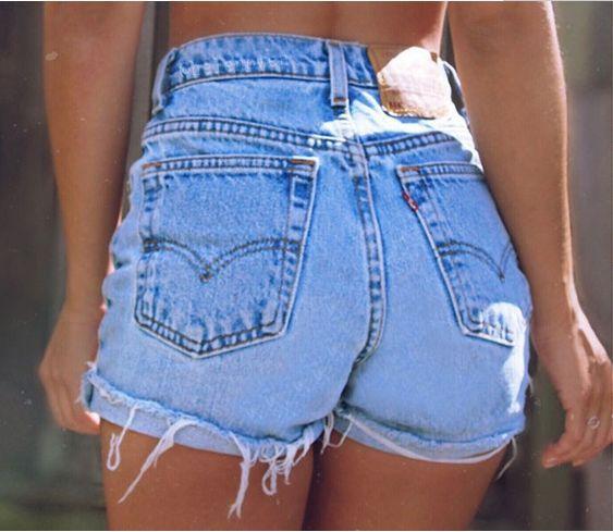 Denim Shorts Retro Blue Ripped Jeans