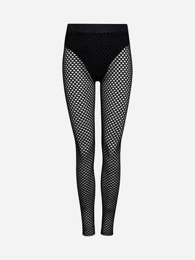 High waist mesh leggings. Supercool to wear with dresses, skirts or under the ripped jeans. NEVER DENIM.  Musta