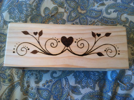 Keepsake Box with Special Wood Burned Design and Quote. $30.00, via Etsy.