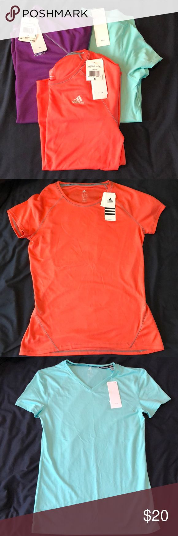 NEW With Tags! ADIDAS athletic T-shirts Bundle! NEW: Mint Green Women's Climalite T-Shirt (Small) NEW: SQ CCRun SS T Women's both Purple (Medium) and Orange (Small)  Comment if you would like to unbundle the three adidas Tops Tees - Short Sleeve