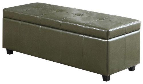 Simpli Home - Castleford Storage Ottoman Bench - Deep Olive Green