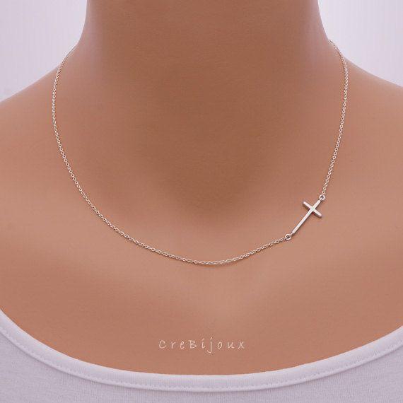 Dainty Sideways Cross Necklace. (Sterling Silver)