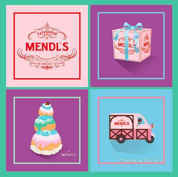 Grand Budapest Hotel Mendl's Patisserie Art Giclee Prints - Choose from 4 designs - Logo, Gift Box, Courtesan au Chocolat Patisserie, Lobby boy in Mendl's delivery van...