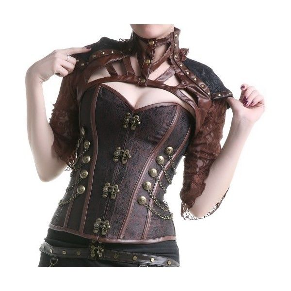 Brown Steampunk Bolero with Black Fabric   Crazyinlove UK ❤ liked on Polyvore featuring outerwear, jackets, brown bolero, steampunk bolero jacket, brown jacket, punk gothic jacket and goth jacket