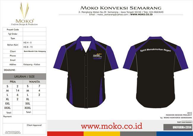 Kemeja Kerja Bank Mandiri Cabang Ketapang - Kalimantan Barat - Indonesia | Kombinasi warna yang dipakai pada kemeja kerja ini adalah warna Hitam – Ungu. Perpaduan warna yang memiliki 2 kesan berbeda | Model Kemeja Kerja Perbankan Warna Hitam Ungu