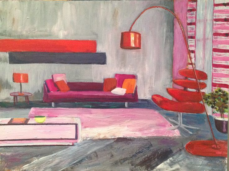 Interior by Lyn Lowes Acrylic on board