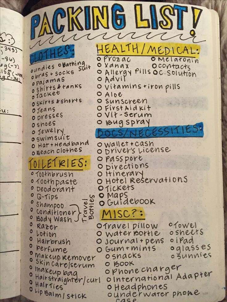 travel  packing list bullet journal  travel  packinglist