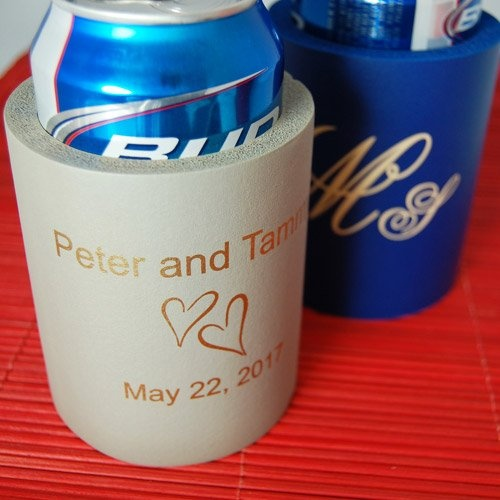 is insisting on personalized wedding koozie by beau coup