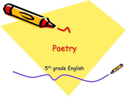 PoetryPoetry 5 th grade English. Poetry What is it? a type of literature that expresses ideas, feelings, or tells a story in a specific form (usually.